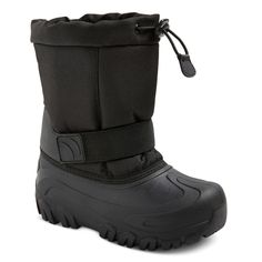 • Nylon and polyurethane construction adds durability<br>• Toggle and drawstring closures keep his foot secure<br>• Textured rubber bottom prevents slippage<br>• Hits around mid-calf<br><br>He'll take winter by storm in these Boys' Cat & Jack™ Nigel Toggle Top Winter Boots in Black. Thick nylon and polyurethane construction keeps him warm and dry. Plus, they're guaranteed. Cat & Jack is made t...