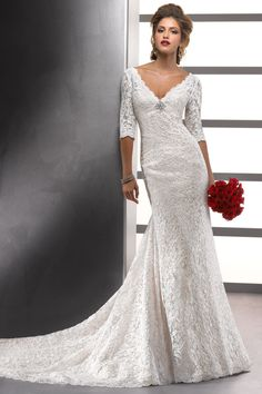 2012 Hot Selling Wedding Dresses Trumpet/Mermaid V Neck Court Train
