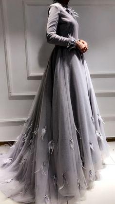 Prom Dresses Ball Gown,grey evening prom dress in 2020 Modest Dresses, Ball Dresses, Ball Gowns, Evening Dresses, Prom Dresses, Church Dresses, Abaya Fashion, Muslim Fashion, Modest Fashion