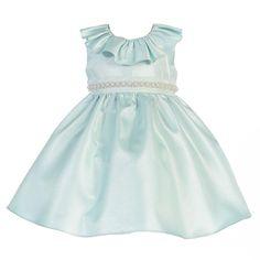 Crayon Kids Baby Girls Sage Glitter Neckline Fit and Flare Easter Dress 9-24M