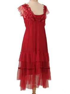 Nataya Red Embroidered Ruffle Tulle Empire Party Dress