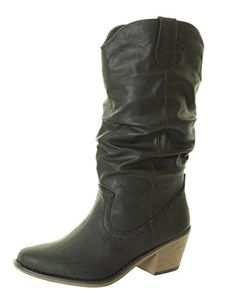 Woman's / New Ladies Cowboy Western Knee High Cuban Heel Boot Black Sizes 3 4 5 6 8 Tilly London http://www.amazon.co.uk *****
