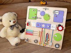 Двухсторонний бизиборд, Смекалкин. Развивающая доска, доска с замочками и кнопочками. Busy board, activity board, sensory board