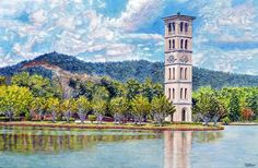 Furman Bell Tower #1 Art World, Notre Dame, Tower, Watercolor, Building, Artist, Travel, Pen And Wash, Rook