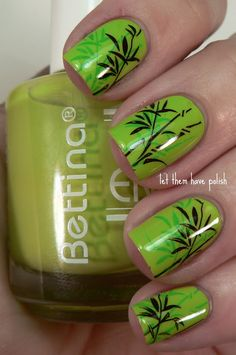 "Bamboo ""print"" nail. Primary color used is Bettina's Candy Green Apple. Konad M66 plate was used for the stamping... colors are Bettina's Mojito and Art Deco Brown."