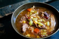 A Kentucky Derby favorite, Kentucky Burgoo stew, with pork, beef chuck, and chicken for meat, and corn, carrots, onion, celery, and lima beans.