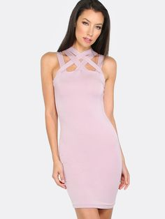 "Be the life of the party in the Cross Strap Bodycon Dress! This sexy number is fully lined and features multi cross strap detail and knee length cut. Measures 34.6"" from strap top to bottom hem. For the perfect date night look pair with dark lips and classic pointy toe pumps. Modeled in a size S. #pastel #summer16 #dresses #cutouts #MakeMeChic #MMC #style #fashion #newarrivals"
