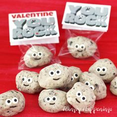 """Turn a simple 3-ingredient fudge recipe into some insanely cute treats for Valentine's Day. Your kid's classmates will be thrilled to receive some Cute Cookies 'n Cream Fudge Rocks especially if they are packaged in cellophane bags and are topped with a """"You Rock"""" Valentine Printable tag."""