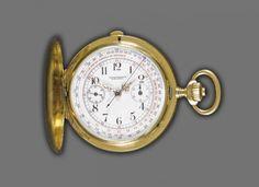 TASCHENUHR Longines Chronographe, Savonette, um 1910-1920. Gelbgold 18 kt. Gehäuse-Nr. 2490787. R — Schmuck & Uhren