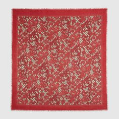 Gucci Women - Gucci Red & Beige Arabesque print modal silk shawl