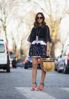 Song of Style    Wearing Chloé in Paris. Chloé silk top, Chloé lace skirt, Oscar Tiye heels, streetstyle, PFW, Paris Fashion Week