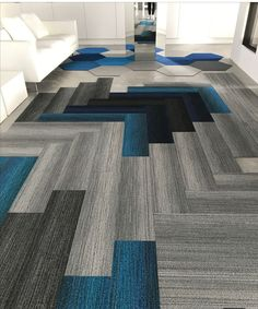 Most up-to-date Photo Carpet Tiles ideas Concepts Commercial flooring options are many, but there is nothing like carpet tiles. Carpet Design, Floor Design, Tile Design, House Design, Commercial Carpet Tiles, Commercial Flooring, 1920s Interior Design, Transition Flooring, Flooring Options