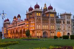 Mysore Palace at dusk.
