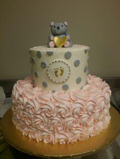 Baby Shower Cake Pink, Gold Footprints