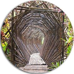 """DesignArt 'Bamboo Tunnel in the Garden' Photographic Print on Metal Size: 23"""" H x 23"""" W x 1"""" D"""