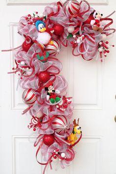 Candy Cane Deco Mesh Mickey Minnie Pluto by SparkleForYourCastle