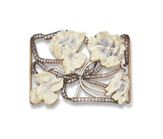 Dog collar plaque, openwork plaque set with four carved French ivory hawthorn flowers, each stained with blue, with white enamel stems, enhanced by old European-cut diamond undulating ribbon motif, mounted in 18k gold, Lalique, 1902