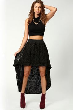 Poppy Metallic Contrast Lace Mixi Skirt