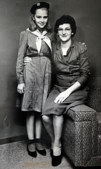 This photo from the shows Phyllis Mummert, right, and her oldest daughter, Susan, in her Intermediate uniform. Mummert was a troop leader and ran Girls Scout camps while her children were young. Travel Literature, Girl Scout Camping, Daily Record, National History, Day Camp, Paper Products, Camps, Vintage Photographs