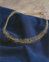 Tunisian crochet with gold wire!  Crochet Bracelet and Crochet Necklace Pattern: Gold Lace Necklace and Bracelet