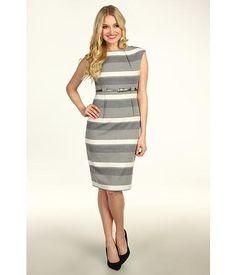 Calvin Klein Cap Sleeve Belted Sheath Dress Women's Dress