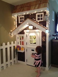 Kids Playroom Design - I am in LOVE with this idea. You put the decorated house in front of the closet so the closet is the playhouse! Genius!