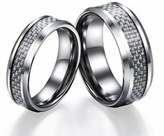 His & Her's 8MM/6MM Tungsten Carbide Wedding Band Ring Set With Silver Carbon Fiber Inlay (Available Sizes 5-15 tungsten jeweler http://www.amazon.com/dp/B00JBLP8HY/ref=cm_sw_r_pi_dp_HXrzwb1JVVEWB