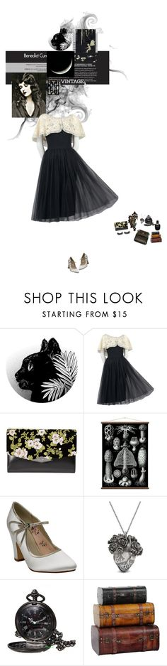 """""""Midnight Queen"""" by autumnred ❤ liked on Polyvore featuring Rochas, Rainbow Club, Mulberry, Alexander McQueen, vintage, black, dress, 1950 and JuneMarlowe"""