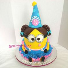 3D Girl Minion Cake For 2 Year Old Victoria Feeds 40 People Made By Christina Pagan Amp Yesenia Figueroa Find This Cake And More On on Cake Central
