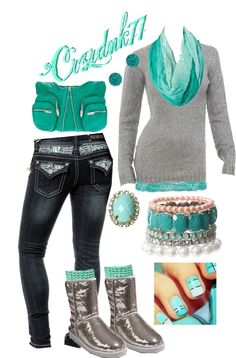 """Aqua and Sequins"" by crzrdnk77 on Polyvore"