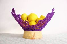 Upcycling old doily to purple crochet design bowl by undun on Etsy, €50.00