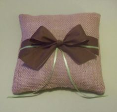 Burlap Ring Bearer Pillow Brown and Green by yellowroseaccents, $19.95