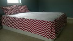 Custom Bed Skirt - Made to Order Dust Ruffle- Chevron Bedskirt - Chevron Bedding by CrookedSeamz on Etsy