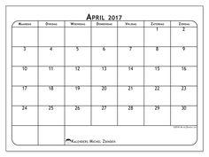 Gratis! Kalender voor april 2017 af te drukken