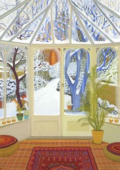 Gouache on paper 76 x 56 cm 2014 SOLD © Melissa Launay Gouache, Snowy Day, Love Illustration, Through The Window, Sketchbook Inspiration, Naive Art, Pretty Art, Map Art, Illustrations
