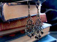 Lorena Black Gothic Chandelier Earrings in Brass by feralstrumpet