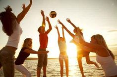 Volleyball on the beach. Group of young people playing volleyball on the beach , Myrtle Beach Things To Do, Fun Outdoor Games, Beach Games, Destinations, Empire, Fun Party Games, Party Ideas, Bbq Ideas, Games For Teens
