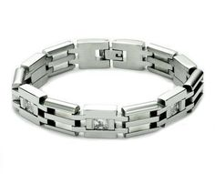 Mens Bold Link Stainless Steel Bracelet w/ Stones - FREE shipping!