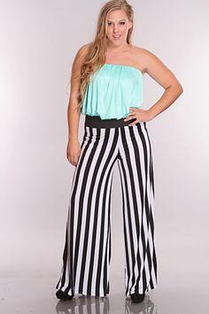 Plus Size Mint Multi Striped Jumper Outfit $57
