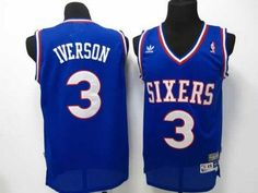 76ers  3 Allen Iverson Blue Throwback Stitched NBA Jersey 77f2f81ed