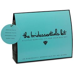 "Bridessentials Survival Kit - This sleek silver pouch with a ""something blue"" crystal heart is a bride's best friend. Containing everything a bride could possibly need on her wedding day, the ""Bride Essentials Kit"" Hair Brush, Mirror, Hair Spray, Hair Pins, Earring Backs, Tissues, Blotting Tissues, Emery Board, Clear Polish, Nail Polish Remover, Mending Kit, Safety Pins, 2-Sided Tape, Stain & Static Remover, Antacid, Pain Reliever, Breath Freshener, Floss, Deodorant, Bandages, Super Glue"