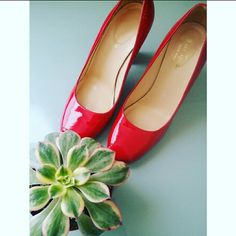 Kate Spade Zacara Red Pumps Beautiful classic and comfortable red patent round toe shoe. Perfect to wear with mini dress or jeans.   Priced low due to heel peel see pic 4 and a few tiny rips see pic 2. kate spade Shoes Heels
