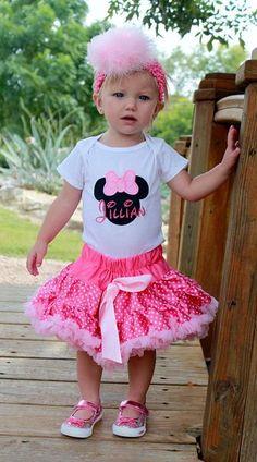 Minnie Mouse Pink Polka Dot Pettiskirt Set by PoshBabyStore.com