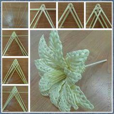 Flores tejidas con palitos de papel. 1 Flax Weaving, Willow Weaving, Paper Weaving, Weaving Art, Wire Weaving, Weaving Patterns, Basket Weaving, Newspaper Basket, Newspaper Crafts