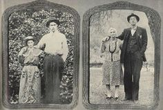 Bud and Rhoda McCoy posed for the picture at left on the day they were married, Sept. 17, 1907. When Photographer Sanders visited them this spring they went outside and struck the same pose for the picture at right. Bud is the grandson of Harmon McCoy, killed in the Civil War, and a son of Lark McCoy, who played a leading part in the duel (see p. 108). He was too young to kill Hatfields during the family war and has no ill will toward them now. He works in a near-by coal mine and likes to play t