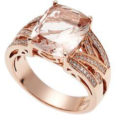 Effy 14K Rose Gold Diamond & Morganite Ring ($1,940) ❤ liked on Polyvore featuring jewelry, rings, white, 14 karat gold ring, diamond enhancer ring, rose diamond ring, rose gold rings and pink gold rings