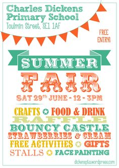 Dickens PTA summer fair poster