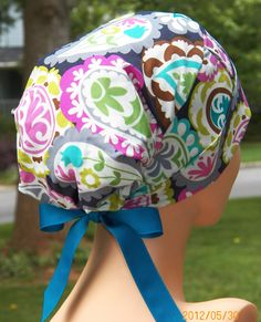 Surgical Scrub Cap or Cancer Hat Perfect Fit Tie by thehatcottage, $18.50
