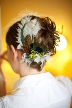 The real reason to get a birdcage veil: to show off a fabulous hairpiece like this in the back!