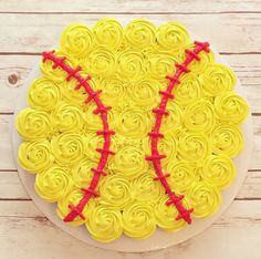 Softball Cupcakes — these are awesome for a birthday party or a softball party! Softball Cupcakes, Softball Treats, Softball Gifts, Softball Stuff, Softball Cheers, Softball Quotes, Cheerleading Gifts, Basketball Gifts, Golf Quotes